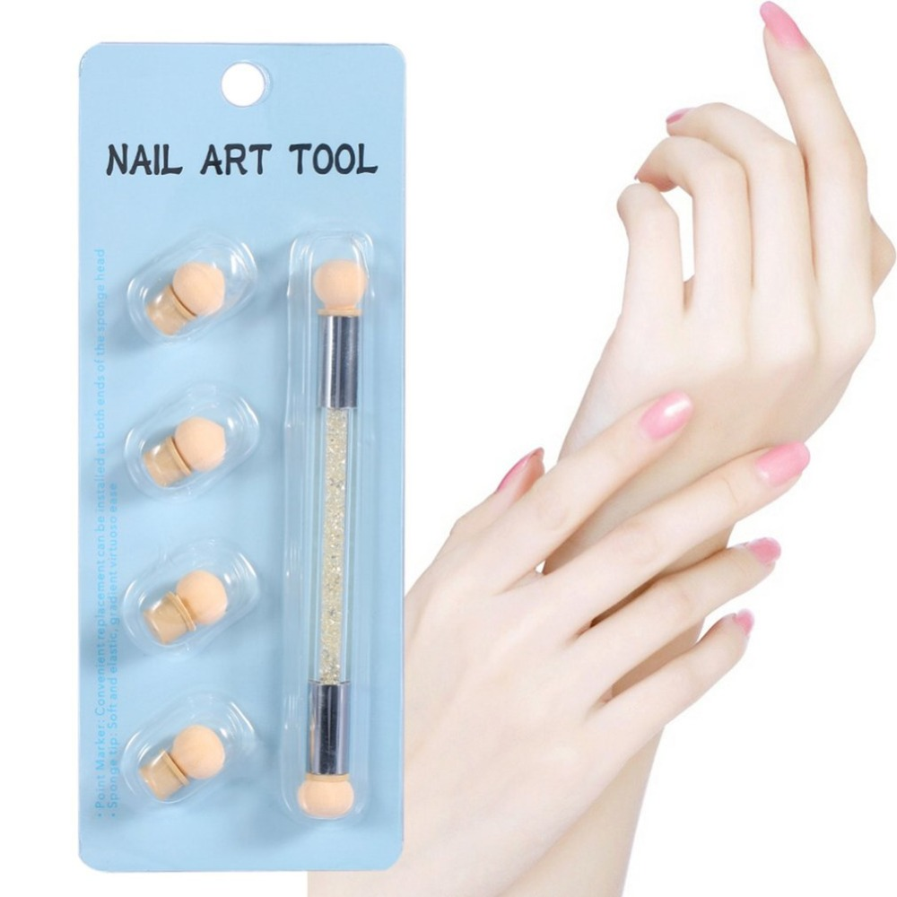 Dual-ended Dotting Sponge Blooming Nail Pen Nail Polish Drawing Pencil Nail Designs Stamping Pen Professional Manicure Tool
