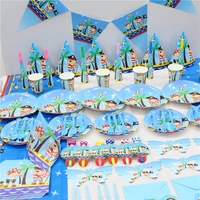 YOT Fiesta Pirate Cartoon Ocean Themed Dishware Disposable Tableware Decoration Layout Child Boy Girl Birthday Party Supplies