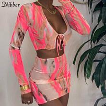 Nibber, винтажный Модный комплект из 2 предметов с графикой, Женский сексуальный прозрачный сетчатый топ с v-образным вырезом на шнуровке и мини...(Китай)