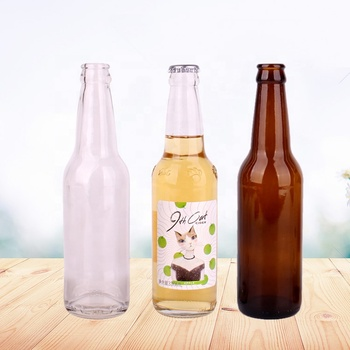 Hot Sell amber and clear 330ml Empty Glass Beer Bottle for Sparkling Wine Alcohol Juice Beverage with metal Crown Cap