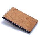 Creative Cherry Wood ID Bank Metal Card Case Gifts Storage Box Credit Cardcase Business Paper Cards Organizer Wooden Card Box