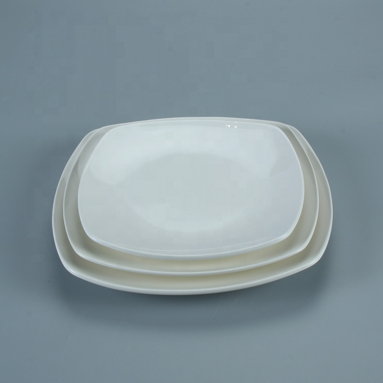 High quality square shaped restaurant catering dinner ceramic plates set wholesale price