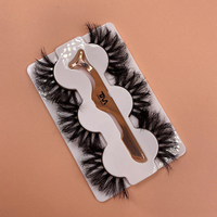 Custom eyelash packaging box waterproof silk 25mm false eyelashes vendor invisible clear band 3d mink lashes