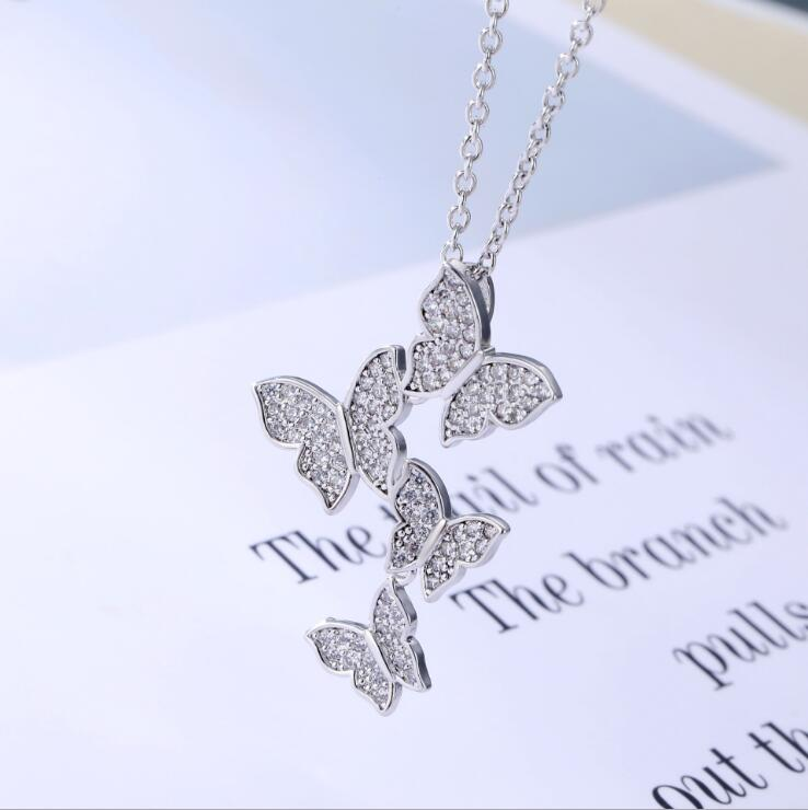 QR229 Trade Assurance Fashion diamond necklace butterfly pendant zircon necklaces for customized jewelry wholesale