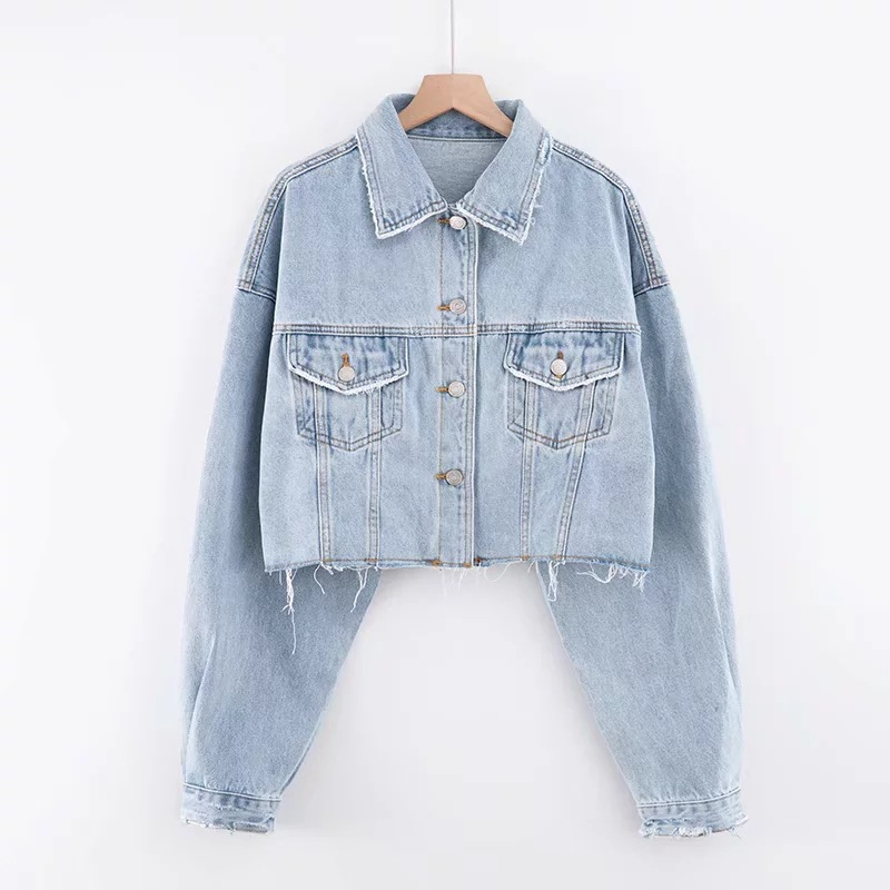 고품질 가을 여성 짧은 머리 드리 워진 진 재킷 맞춤 진 자켓