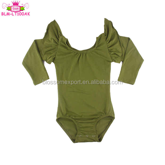 Gymnastics leotard baby training frock Bodysuit stretch body scoop neck girl long sleeve green leotards