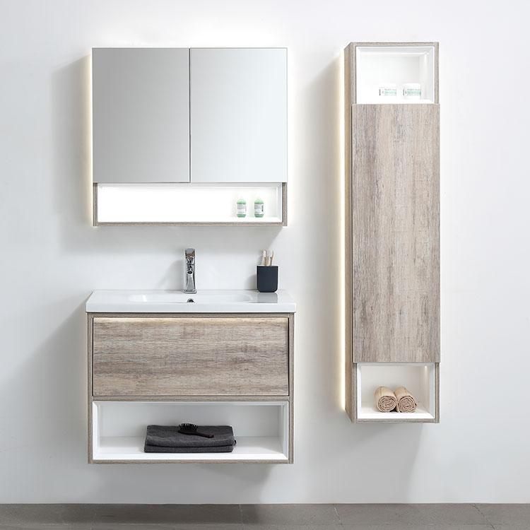 Factory Direct Supply Country Style 30 Inch Wall Hung Mounted Modern Sink Bath Cabinet With Tall Boy Side Cabinet