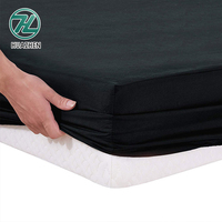 Cheap price pure black color soft plain dyed 100 polyester fitted bed sheet set