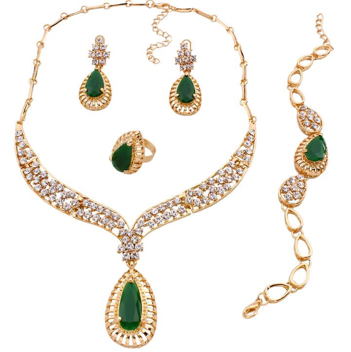 QD162 Huilin Women 18K Gold Plated Wedding Jewelry Sets Crystal Resin Necklace Bracelet Ring Earrings Set