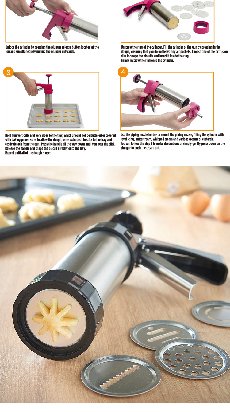 Cookie Press Gun Multifunctional Biscuit Maker Cake DIY Decorating Gun Set Plastic with 13 Discs and 6 Icing Tips baking tools