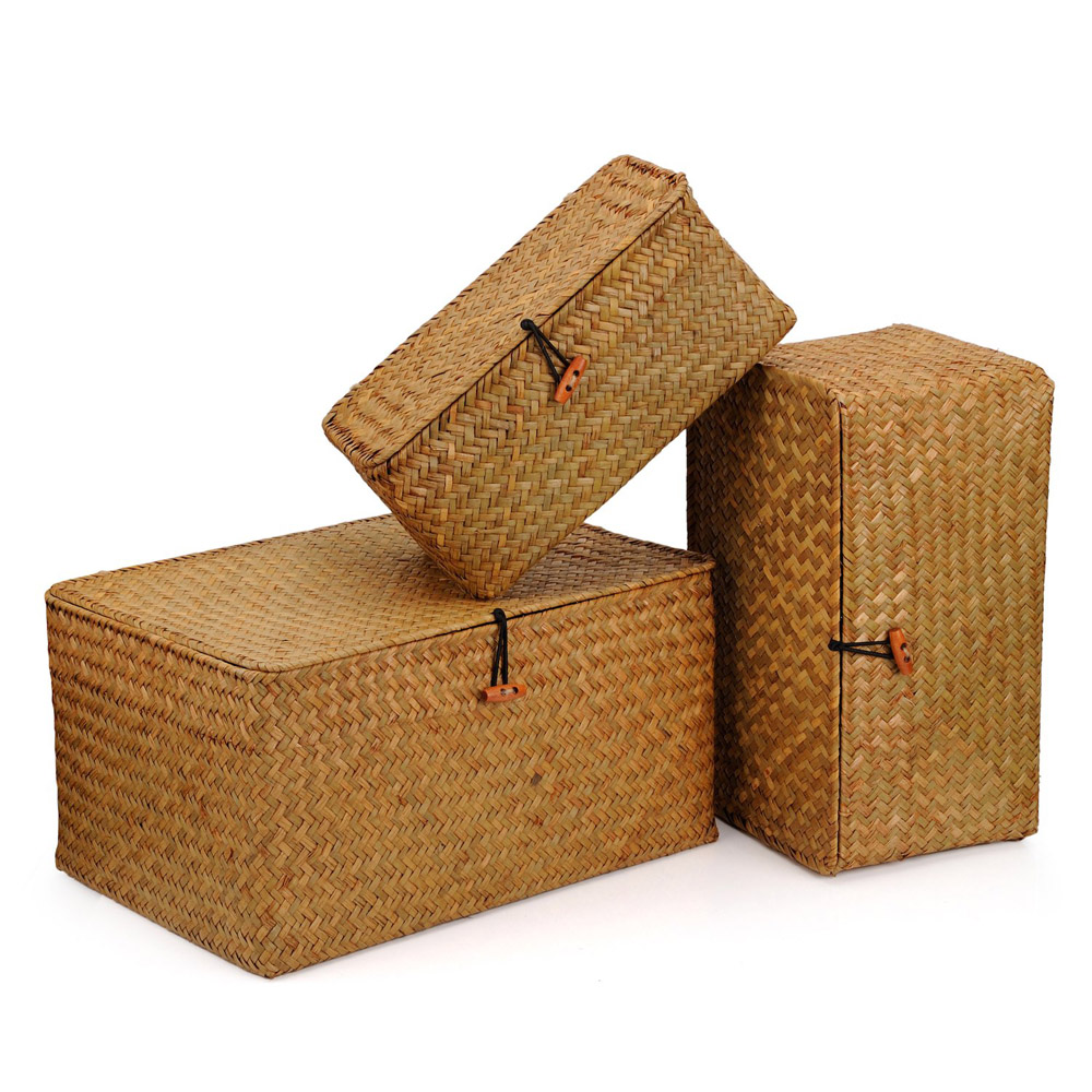 Seagrass Storage Baskets with Lids Insert Handles Home Bathroom Organizer
