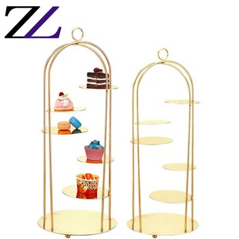Party catering supply 5 layers cupcake kiosk standing high tea cake stand fancy wedding modern metal cake stand set gold color