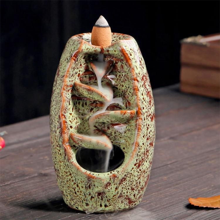 Small Size Mountain River Handicrafts Multi Colors Ceramic Incense Holder Backflow Porcelain Burner Censer Holder
