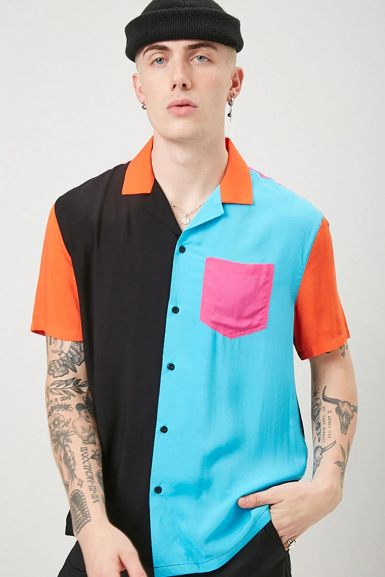 KY 100% rayon cool men's shirts Cuban collar chest patch pocket button-down front and short sleeves Classic Colorblock Shirt