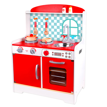15% Fixed Discount Hot selling new wooden red kitchen set toy for kids red box kitchen toys