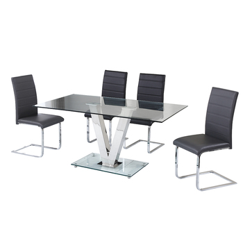 Modern Designer Metal Frame Black Glass Dining Table Set and Chairs