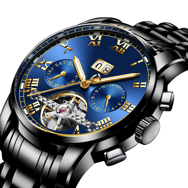 Custom Logo Branded Watches Automatic Self-Wind Watches Mechanical Tourbillon Fashion Casual Wristwatch China Factory Wholesale