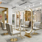 Yoocell Newest gold styling station led light mirror salon chair barber chair modern salon furniture