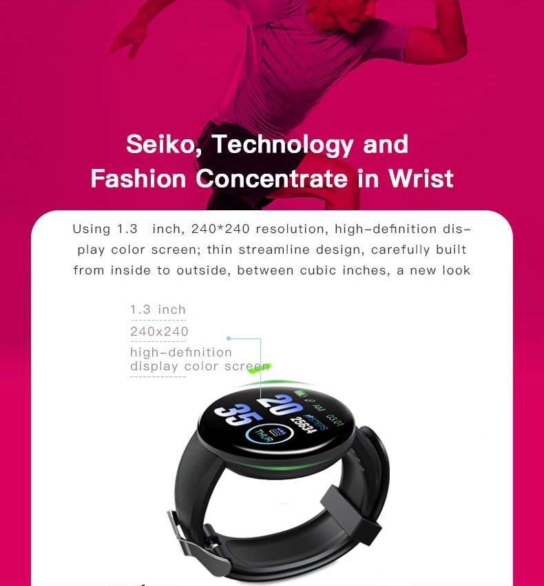 round touch screen smart watch heart rate monitor band bracelet blood pressure sport wrist fitness D18 smartwatch