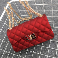 1800 17cm Jelly Bag Metal long strip Chain cell phone Shoulder Message Bags Small PVC Quilted Handbag