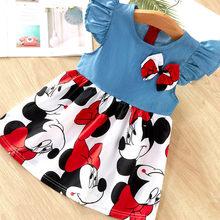 Платье для девочек, милые детские платья для маленьких девочек, детская летняя одежда в горошек без рукавов с мультяшным рисунком, одежда дл...(Китай)