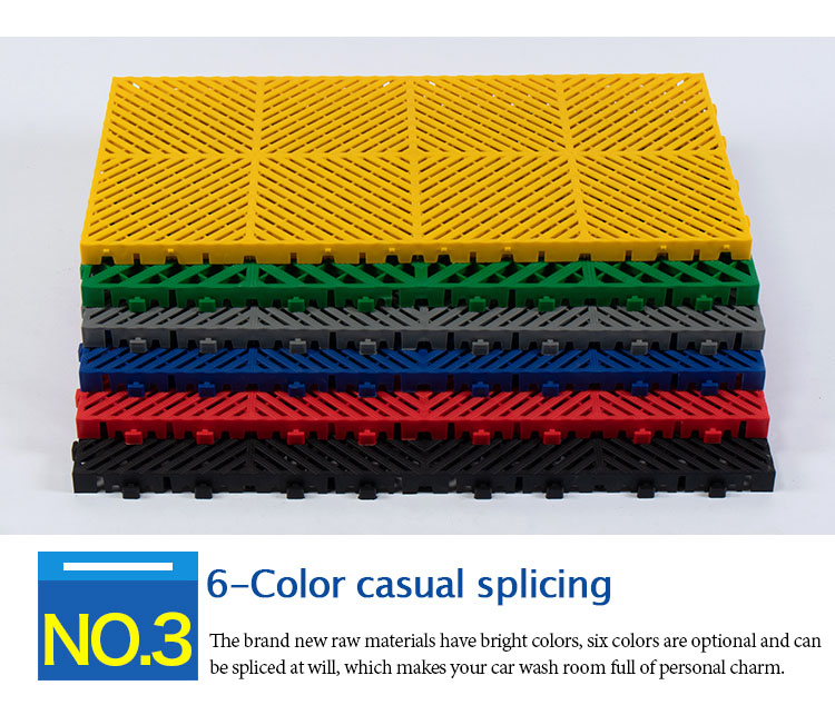 400*800*40mm For car wash grille anti slip pp interlocking garage floor tiles removable carwash plastic floor grating mats
