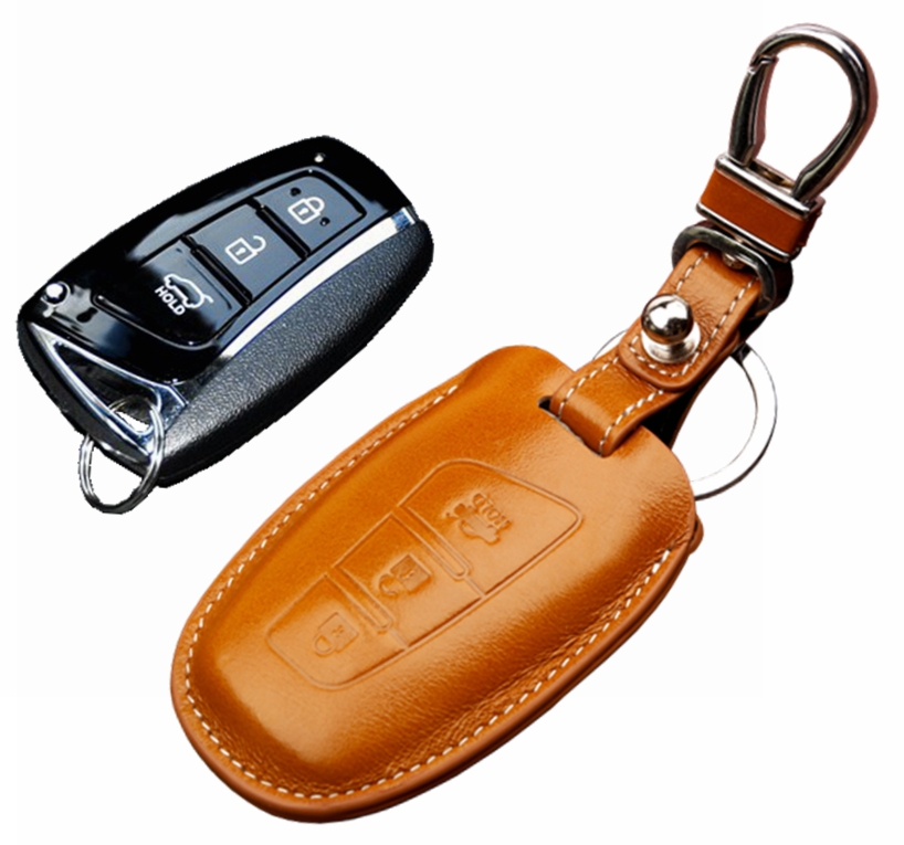 Leather Remote Auto Key Holder Organizer RFID Smart Car Key Case Cover For Any Brand Car