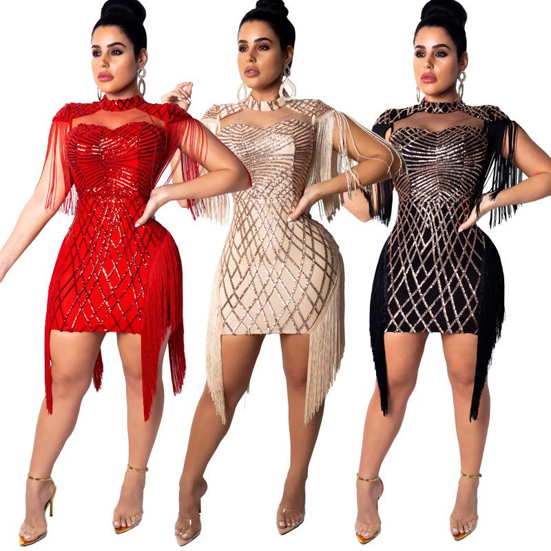Amazon Bán Chạy Trang Phục Phụ Nữ Thời Trang Sexy Không Tay O Cổ Váy Bút Chì Mini Sequin Tua Mùa Hè Ăn Mặc Giản Dị Phụ Nữ