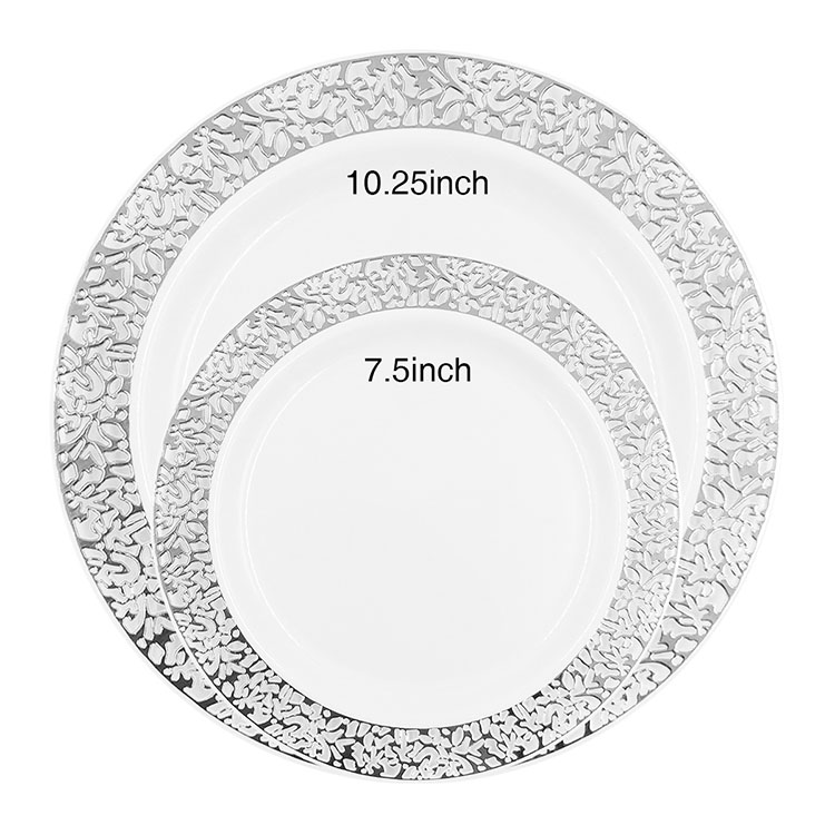 Nicro Wholesale Cheap New Fancy Hard Disposable Rack Silver Rim Decorative Charger Plates Plastic Sets For Weddings Party