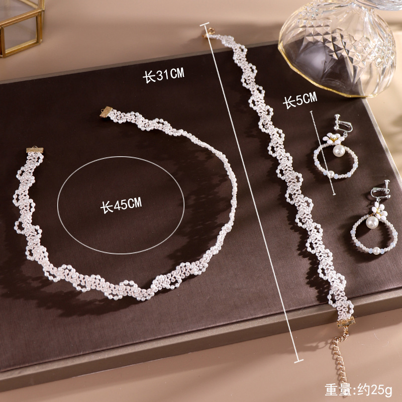 Wholesale White Pearl Beads Bridal Tiaras Necklace Earrings Set Women Choker Wedding Accessories Handmade Bride Jewelry Sets