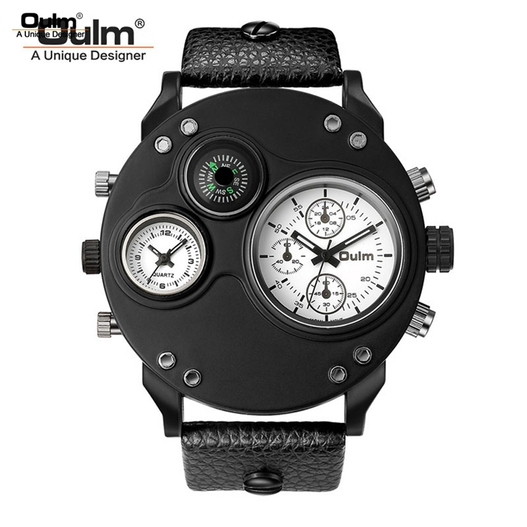 OULM HP3741 männer Quarz Kleid Uhr Leder Band Einzigartige Design Kompass Günstige Armbanduhren Uhren Für Männer