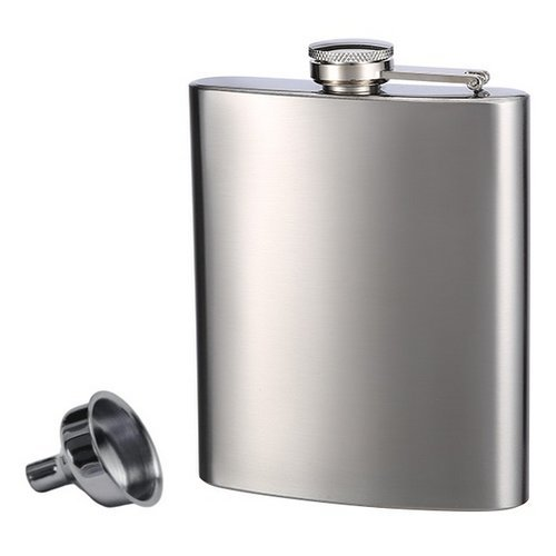 8oz stainless steel hip flask single walled mens vodka flask custom logo engraved hip flask with funnel
