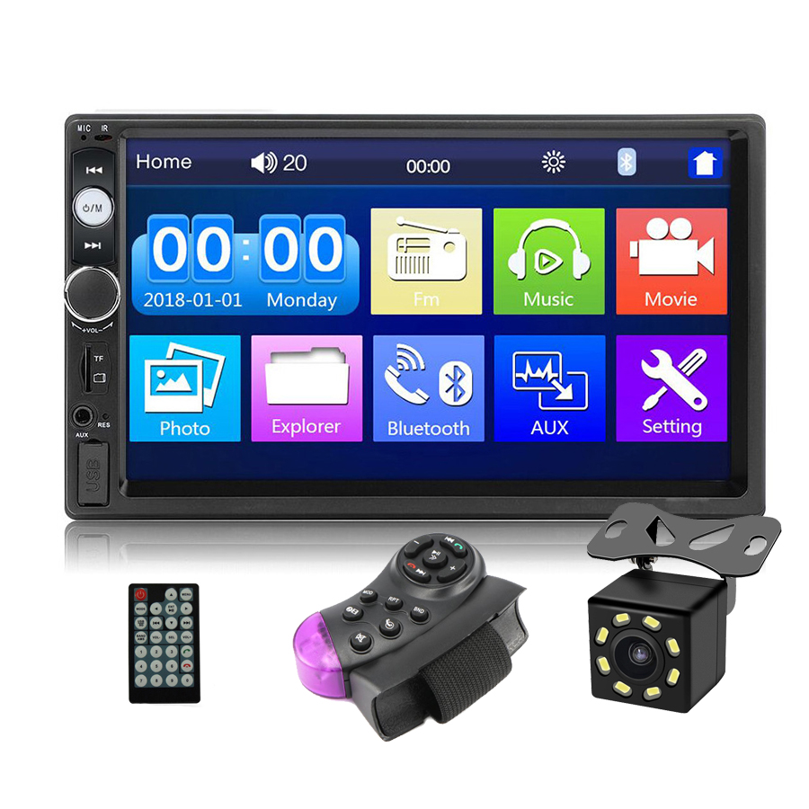 Universal Auto Radio 2 Din 7 Inch Touch Screen Stereo Multimedia <strong>Player</strong>,2Din Rearview Mirror Link/FM/TF/Bluetooth/MP5 Car <strong>Player</strong>