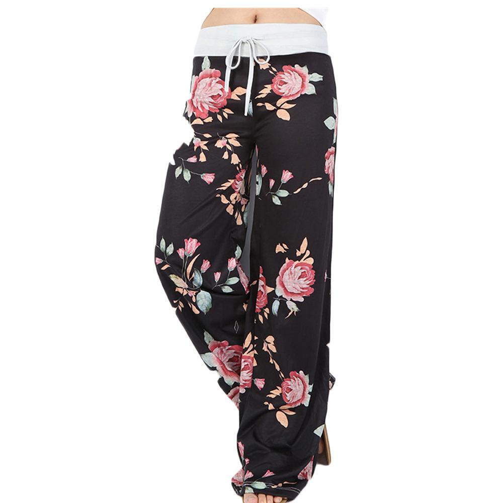 กางเกงลำลองขายาวสำหรับผู้หญิง,ชุดนอนทรงหลวมกางเกงโยคะขาบานไซส์พิเศษแบบเชือกรูด