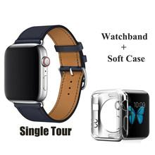 Ремешок HERM с логотипом на пряжке для Apple Watch 5, 4, 3, 2, Свифт, кожа, двойной тур, 44 мм, 40 мм, 42 мм, 38 мм, кожаный ремешок для iWatch 5, 4(Китай)