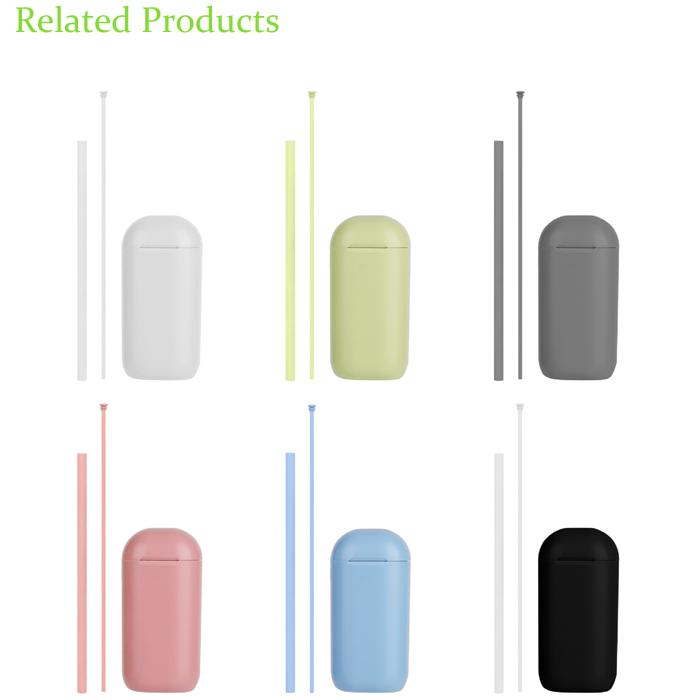 친환경 휴대용 재사용 가능한 실리콘 빨대 접이식 실리콘 짚
