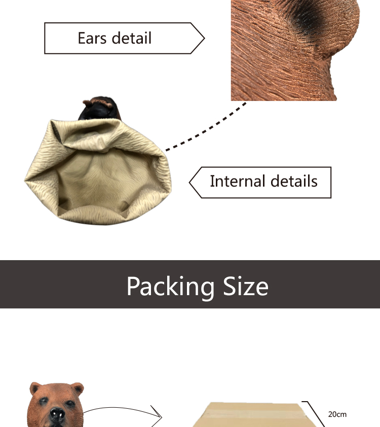 Adults Jungle Animal Wild Carnival Fancy Dress Costume Brown Bear Mask