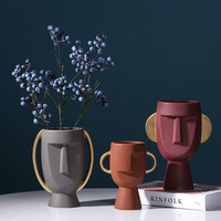 nordic ceramic face vase modern style for hotel display wedding home decor gift