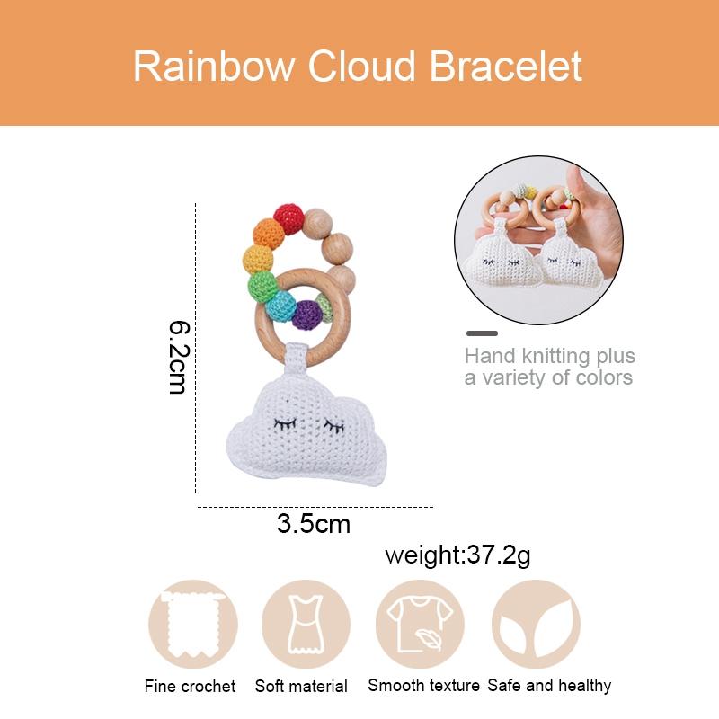 0-12 Months Newborn Baby Toy Crochet Rinbow Clouds Rattles Beech Wooden Nursing Bracelet Baby Educational Stroller Crib Toy