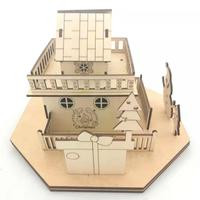 Laser Cut wood christmas village scene and christmas doll house with led light