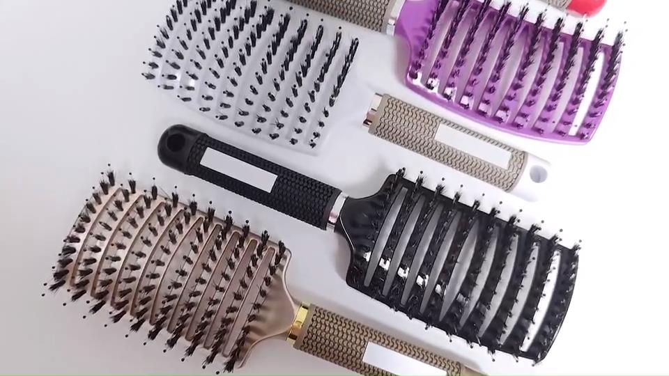 גדול פלסטיק ניילון סיכות שיער מברשת צלעות כפוף צורת מסרק