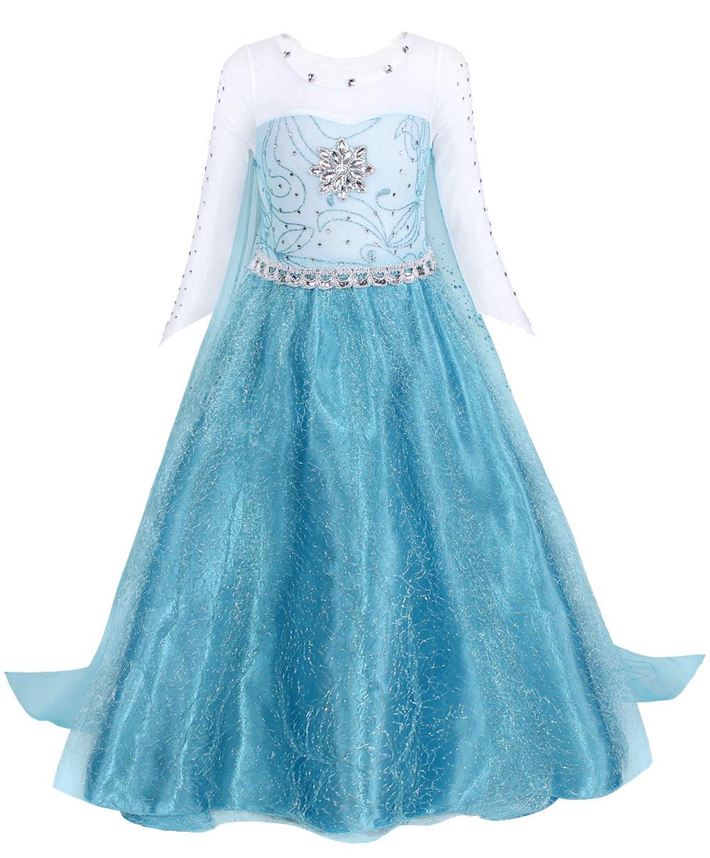 Vendita Calda Congelato Elsa Anna Principessa Dress Up Halloween Cosplay Costume Con La Principessa Corona Bacchetta