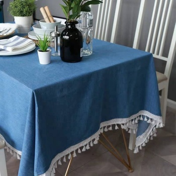Wholesale Used Custom Rectangle Blue Dining Table Set Table Cloths With Tassel Decoration For Wedding