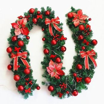 9FT Hot Sale Prelit LED Luxurious Decorated PVC Wreath Garland Christmas Decoration with Lights