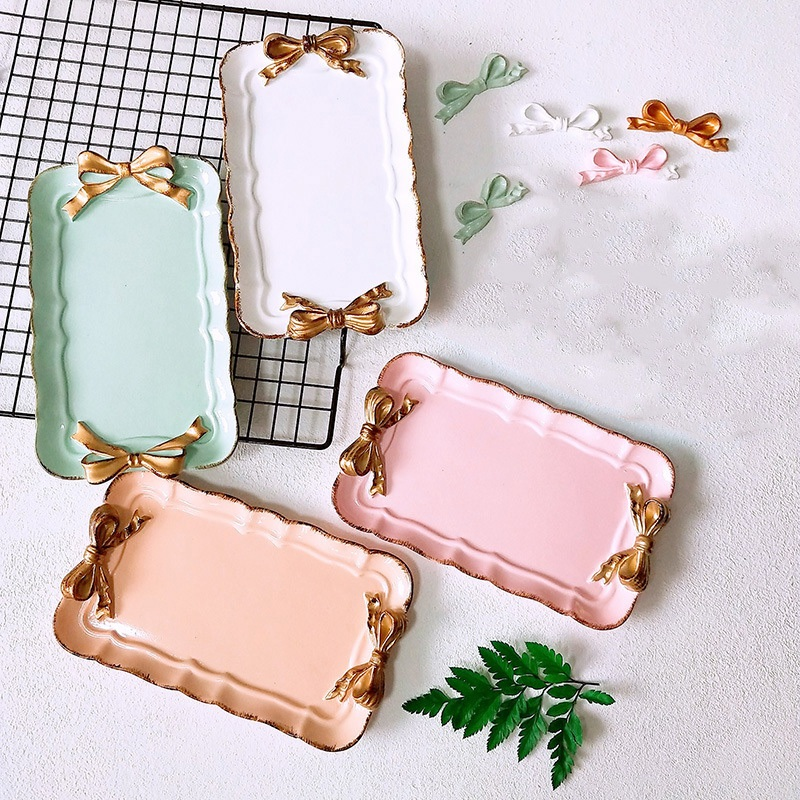 Promotion! European Style Pink Bow Cake Makeup Organizer Dessert Plate Square Decor Tray Kitchen Storage Trays