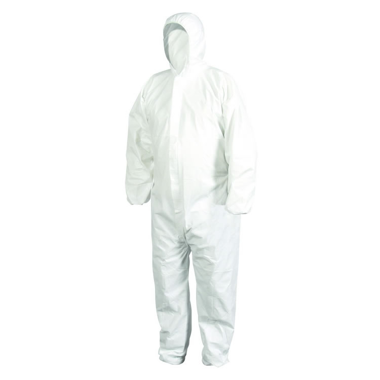White Polypropylene Non Woven PP Waterproof Nonwoven Hazmat SMS Microporous PPE Protection Suit Disposable Coverall - KingCare | KingCare.net