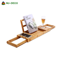 Universal bamboo bathtub caddy shower organizer tray for bathroom