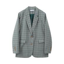 Женский блейзер в клетку EAM, Зеленый свободный пиджак с отложным воротником и длинным рукавом, весна-осень 2020, 1W8110, большие размеры(Китай)