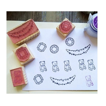 NO MOQ Custom Logo Decorative Scrapbooking Wooden Rubber Stamp