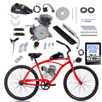 "80cc Motorized 2-Stroke Upgrade Bike Conversion Kit DIY Petrol Gas Engine Bicycle Motor Kit Set for 24"", 26"" and 28"" Bikes"